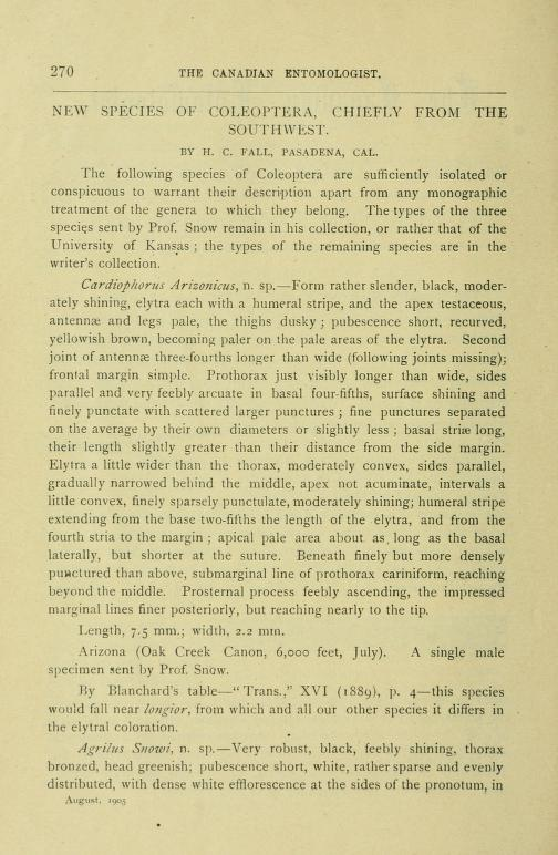 Fall (1905) Can. Ent. 37(8): 270-276